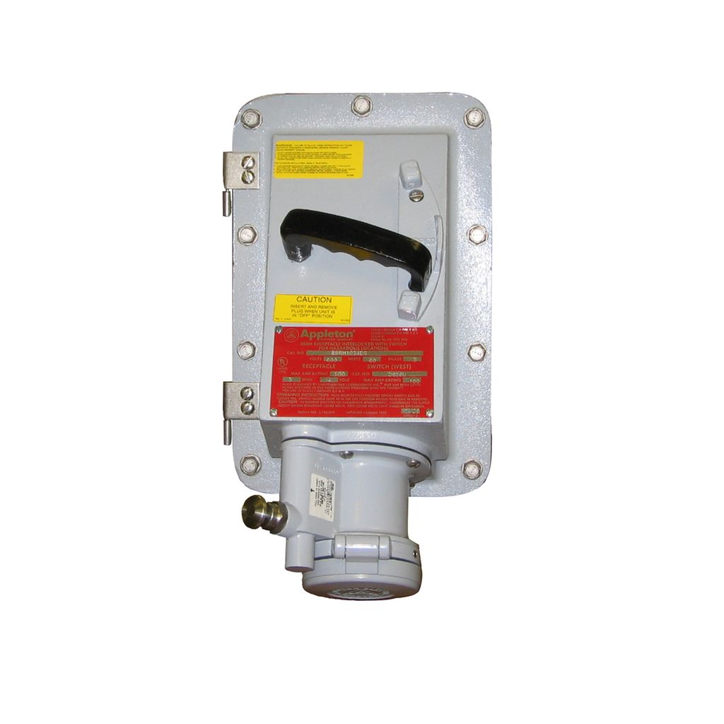 Ebr 30 60 100 and 150 amp series receptacles for Class 1 div 2 motor disconnect switch